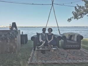 Jazz duo Polkadot + Moonbeam lounging outdoors
